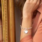 Bracelet maille ovale en argent 925 coeur type Tiffany