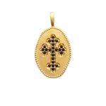 Pendentif bord perlé et croix en zirconium noir plaqué or