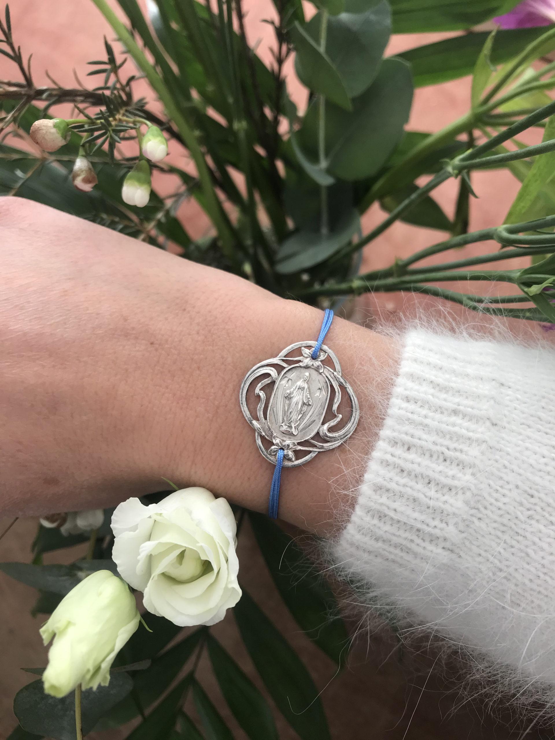 Bracelet médaille ancienne vierge en argent 925