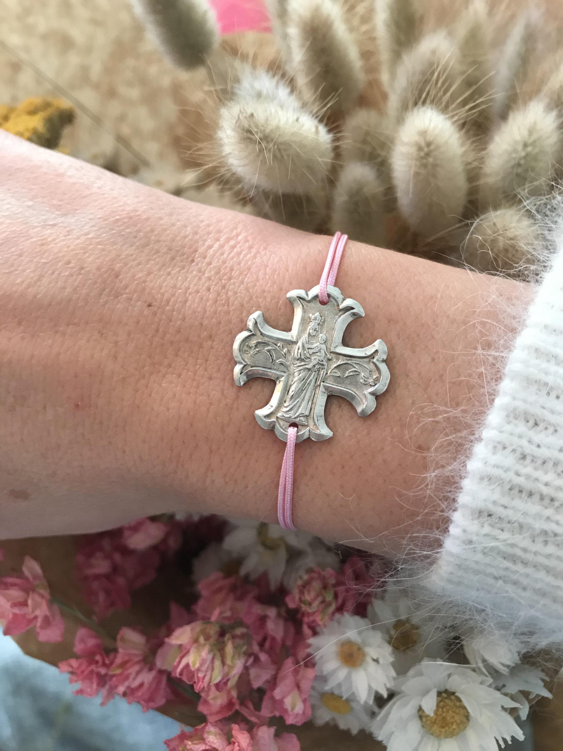 Bracelet croix Vierge centrale en argent 925